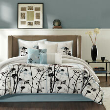 Elegant Blue Grey White Black Flocking Floral Comforter Set 7 pcs Cal King Queen