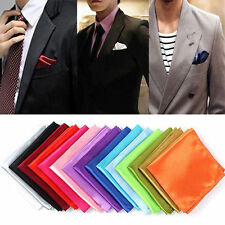Men Satin Solid Pocket Square Handkerchief Wedding Party Hanky Kerchief Towel