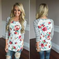 Women Ladies Striped Floral Long Sleeve Cotton Blouse T-shirt Casual Slim Tops