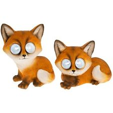 "FABULOUS PAIR OF ""BRIGHT EYES"" SOLAR FOX LED GARDEN LIGHT NEW & BOXED 66940"