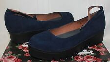 Jeffrey Campbell Kiku platform ankle strap shoes Navy Nubuck Suede New With Box
