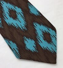 VINTAGE BIAS BY TERN TRUE SLIPSTITCH ALL POLYESTER BROWN & TURQUISE TIE