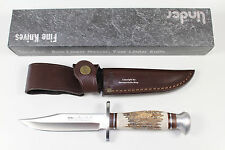 "ORIGINAL GERMAN LINDER BOWIE KNIFE W/STAG HANDLE 440A STAINLESS STEEL 5.1"" BLADE"
