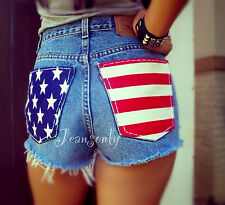 American flag shorts  High waist jean shorts cut off shorts by Jeansonly