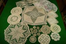 COLLECTION 16 VINTAGE CREAM LACE MATS DOILIES Crochet Nottingham Lefkara #19