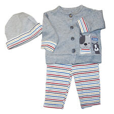 Baby Boy 3pc Cardigan Pants Cap Set Cotton  0-9 months