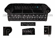 Chesterfield Suite  Black Crushed Velvet with Crystals