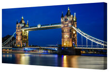 London Tower Bridge Night Lights LARGE Framed Canvas Picture Print City Blue Sky