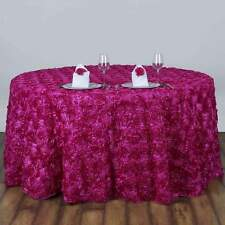 120 in. Round Grandiose Rosette Tablecloth - Wedding/Party/Banquet/Décor