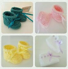 New Handmade Crochet Knitted Newborn Baby Girl Boy Booties Christening Shower