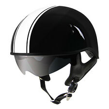 Outlaw L V5-33 White Black Drop Visor (Smoke) Motorcycle Skull Cap Half Helmet