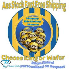 20cm Round Minions Edible Image Icing or Wafer Cake Topper Kids Birthday