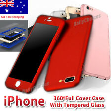 iPhone 8 7 6 Plus 6S 360 Full Hybrid Hard Case Cover + tempered Glass for Apple