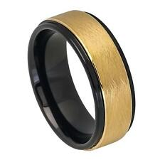 8MM TUNGSTEN CARBIDE MEN'S GOLD PLATED AND BLACK FINISH WEDDING BAND RING SZ7-12