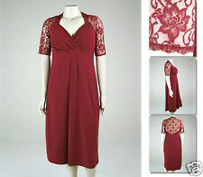 NEW Zaftique DIVINE LACE Dress GARNET Red 0Z 1Z 2Z 5Z / 14 16 20 L XL 1X 2X 5X