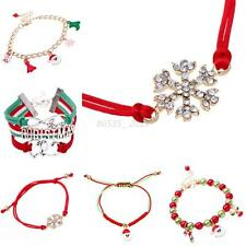 Charming Candy Glass Beads Xmas Stocking Santa Claus Deer Christmas Bracelet Q84