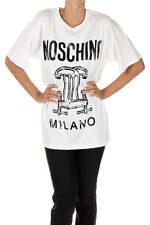 MOSCHINO COUTURE New woman white printed Round neck Tee T-shirt Made Portugal