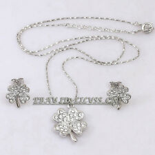 Rhinestone CZ Four Leaf Clover Earrings Necklace Jewelry Set 18KGP Crystal