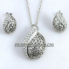 A1-S030 Fashion CZ Hollow Tulip Earrings Necklace Jewelry Set 18KGP Crystal