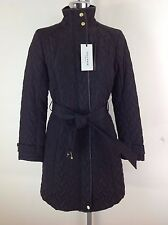 Cole Haan  Signature NWT BLACK  belted Quilted Jacket w Black leather trim