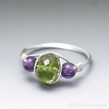 Peridot Faceted & Amethyst Sterling Silver Wire Wrapped Bead Ring