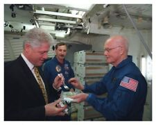 President Bill Clinton And Astronaut Senator John Glenn Space Shuttle Photo