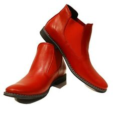 Modello Rosso - Handmade Colorful Italian Leather Shoes Chelsea Boots Red