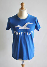 Mens Hollister Blue Surf Team Motif Casual Everyday T-Shirt Basic Style Size S