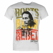 Bob Marley Official Roots Roack Rebel T-Shirt Mens White Top Tee Shirt