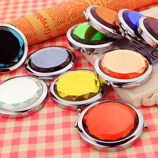 Fashion Mini Stainless Travel Compact Pocket Crystal Folding Makeup Mirror SH