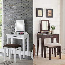 2 PC White Espresso Rotating Mirror Make up Table Padded Bench Wood Vanity Set