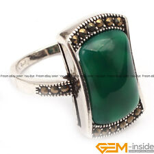 12x22mm Rectangle Stone Antiqued Tibetan Silver Marcasite Jewerly Ring XMAS Gift
