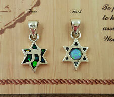 Small STAR OF DAVID KABBALAH PENDANT Blue Opal Chai Two-Sided Sterling Silver