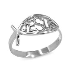 .925 Sterling Silver Christian Open Cut Ichthus Jesus Ring
