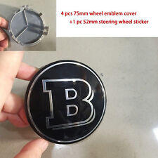 4pcs 75mm Wheel Center Caps Cover Hub Rim Cap Emblem Steering Badge for Mercedes