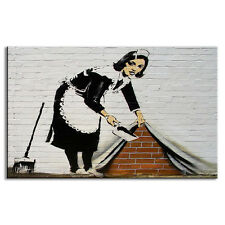 Banksy Art Maid Cleaning Canvas Print Maid in London Street Wall Art for Bedroom