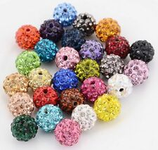 Wholesale lot micro pave crystal disco 29 colors shamballa beads bracelet spacer