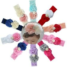 Kid Baby Girl Toddler Christmas Flower Lace Headband Hair Bow Band Head wear