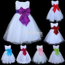 Flower Girl Dress Wedding Bridesmaid Pageant Girls Party Dress White Tulle Dress