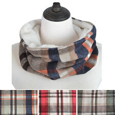 Premium Checker Plaid Soft Faux Fur Infinity Loop Circle Scarf - Diff Colors