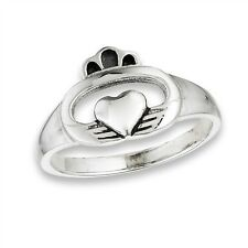 Sterling Silver Rounded Style Celtic Claddagh Cladagh Claddaugh Ring Size 5-9