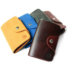 Genuine Cowhide Leather Card Key Case Pouch Holder Chains Rings Bag Wallet Case