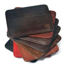 Genuine Cowhide Leather ID Credit Card Case Holder Pouch Slim Thin Wallet Purse