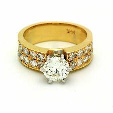 Round Cut Prong set Diamond VS1 1.92 Carat total Engagement Ring Antique Style