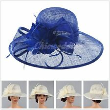 Vintage Kentucky Derby Church Hat Sinamay Wide Brim Wedding Tea Party Dress Hat