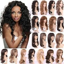 Women Long Curly Straight Full Wig Cosplay Party Daily Fancy Dress With Bang D52