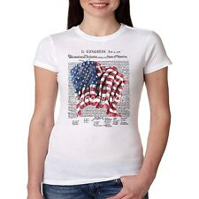 Patriotic Fitted Shirt In Congress July 4 1776 USA American Flag JUNIORS