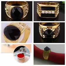US-Retro Fashion 14K Gold Plated Austrian crystals Men's Jewelry Gold Mens rings