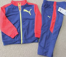 Puma Athletic Track Set Pants Jacket Boy's 24 Navy Red $48 2 Pc Free Ship NWT
