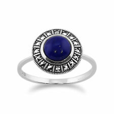 925 Sterling Silver Art Deco 1.53ct Lapis Lazuli & Marcasite Ring